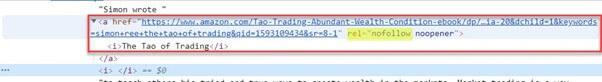 no follow link code html