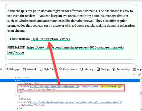 ugc link example taken from outwit website html and page